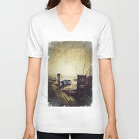 rowing V-neck T-shirts featuring Rugged fisherman by HappyMelvin