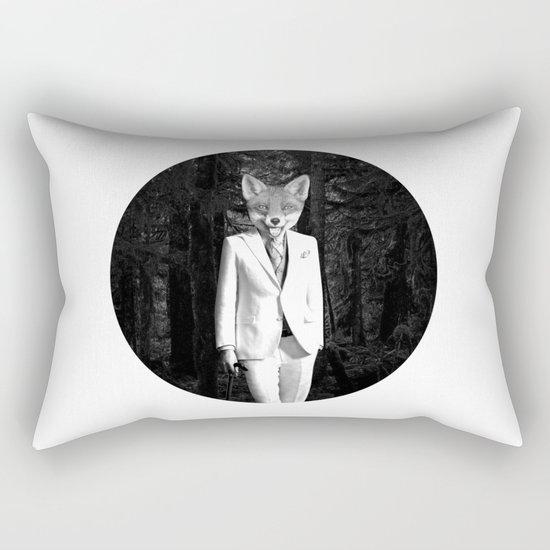 The white fox of the black forrest Rectangular Pillow
