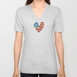 Torn Heart Flag Held Together With a Safety Pin Unisex V-Neck