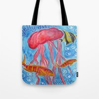 jelly fish Tote Bags featuring Jelly Fish by Julie M Studios