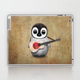 Baby Penguin Playing Japanese Flag Acoustic Guitar Laptop & iPad Skin