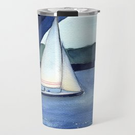 """""""Off to a journey"""" Sailboat Watercolor Painting Travel Mug"""
