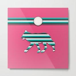 Pink and Teal Wolf Stripe Animal Pattern Design Metal Print