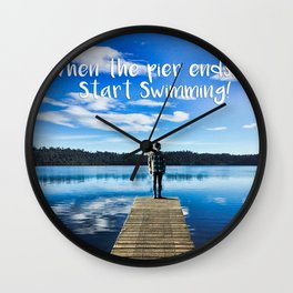 Crystal Blue Lake Pier and Person Swimming Wall Clock