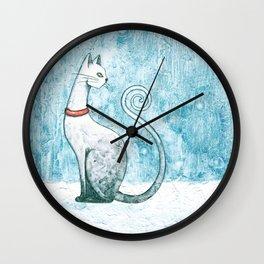 Winter Cat Wall Clock