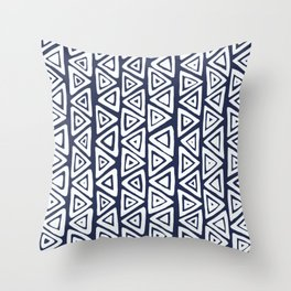 Navy Blue & White Tribal Pattern Throw Pillow