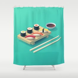 Sushi Isometric - Teal Shower Curtain