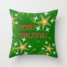 Stars Merry Christmas Throw Pillow