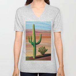 Saguaro Cactus in Desert Unisex V-Neck