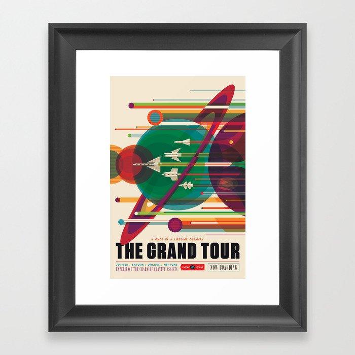 NASA Retro Space Travel Poster The Grand Tour Gerahmter Kunstdruck