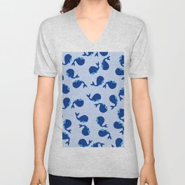 BABY WHALES IN BLUE Unisex V-Neck