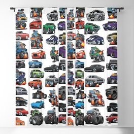 American Hot Rods, Muscle Cars, Street Rods, Pickup Trucks and Motorcycle Cartoons Blackout Curtain