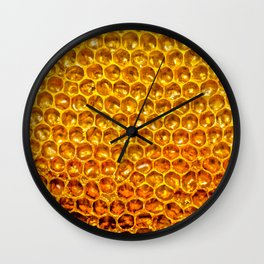 Yellow honey bees comb Wall Clock