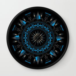 Buffalo Skull and Feathers (Blue) Wall Clock