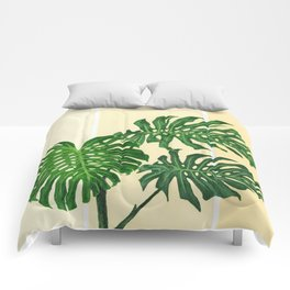 Monstera on Yellows Comforters