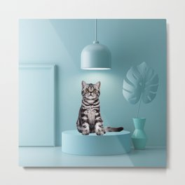 British Shorthair Cat Pastel Color Scene Minimal Collage Metal Print