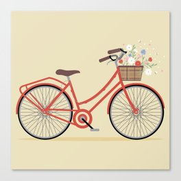Flower Basket Bicycle Illustration Canvas Print