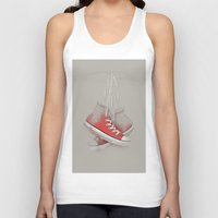 sneakers Tank Tops featuring red sneakers by Old Landscape