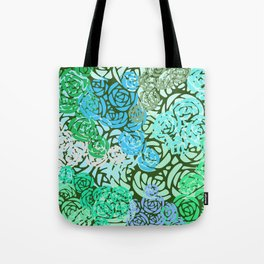 Colorful Overlapping Roses on Roses Print Design 2 Tote Bag