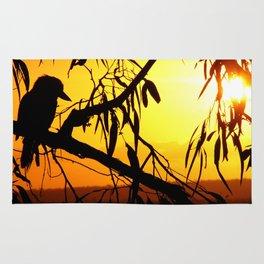 Kookaburra Silhouette Solstice Sunset Rug