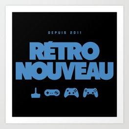 Rétro Nouveau (Bleu) Art Print