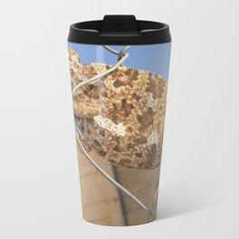 Chameleon In Shades of Brown on Fence Travel Mug