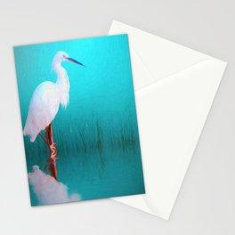 Egret in teal Stationery Cards