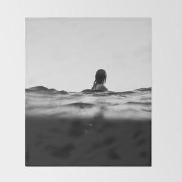 BLACK AND WHITE - OCEAN - WAVES - SEA - WATER - WOMAN Throw Blanket