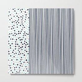 Dots and Stripes Navy Aqua Metal Print