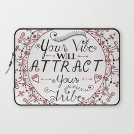 'Your Vibe Will Attract Your Tribe' Quote Mandala Red Laptop Sleeve