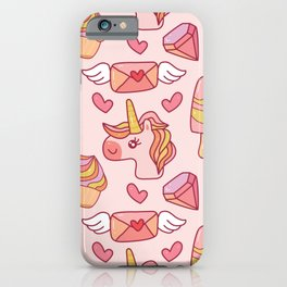 Cute valentine's elements symbols in doodle style seamless pattern iPhone Case