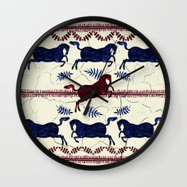 Ancient Greek Fresco - Navy & Red Wall Clock