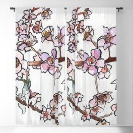 Sakura pink spring flowers Blackout Curtain