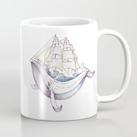 the whale Mugs featuring whale by Ana Grigolia