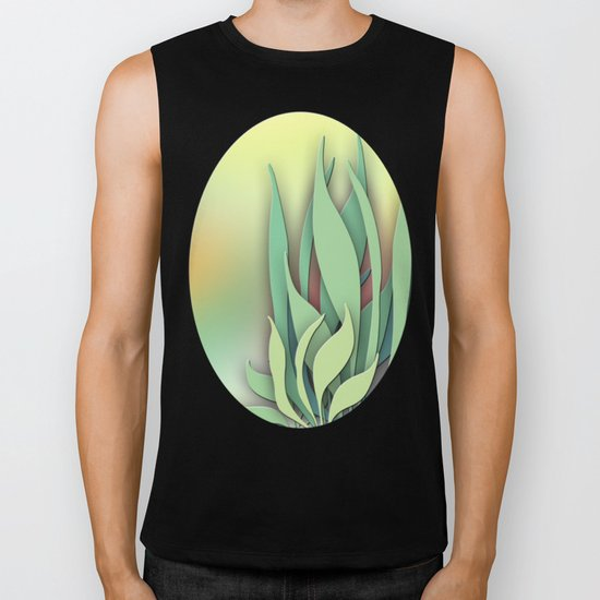Abstract Plant in the Summer Biker Tank