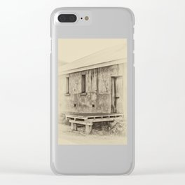 Antique plate style old loading dock Clear iPhone Case