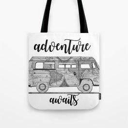 adventure awaits world map design Tote Bag