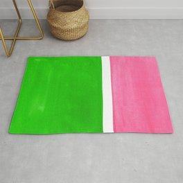 Colorful Bright Minimalist Rothko Color Field Midcentury Vintage Pop Art Petal Pink Leaf Green Rug
