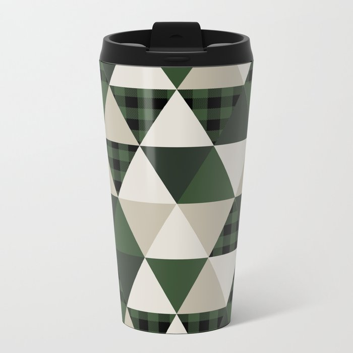 Hunter Green camping cabin glamping cheater quilt baby nursery gender neutral Metal Travel Mug