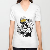 master chief V-neck T-shirts featuring Halo Master Chief by Ashley Rhodes