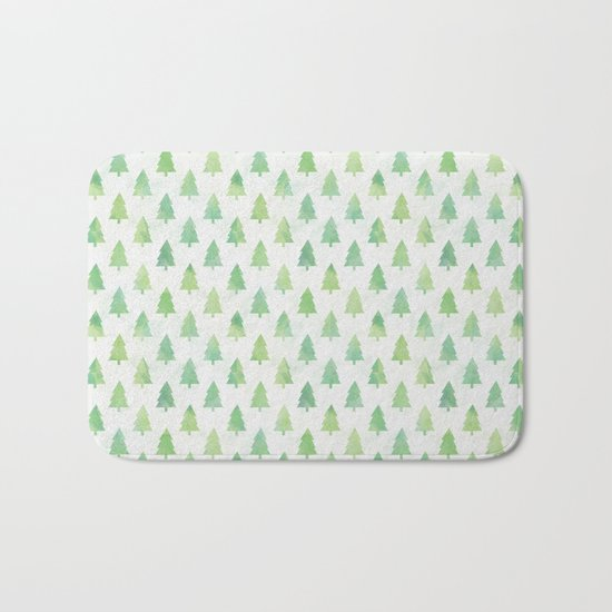 Simple Pine Tree Forest Pattern Bath Mat