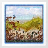 Plaid Beachscape with Dragonflies Art Print