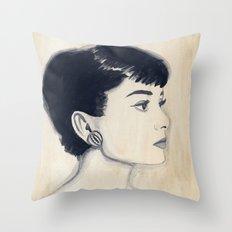 audrey (watercolor) Throw Pillow