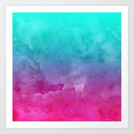 Modern bright summer turquoise pink watercolor ombre hand painted background Art Print