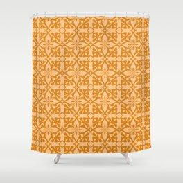 Ethnic tile pattern orange Shower Curtain