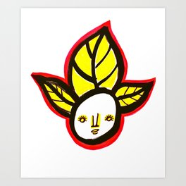 Yellow Leaf Babe Art Print