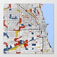 chicago map Canvas Prints featuring Chicago by Mondrian Maps