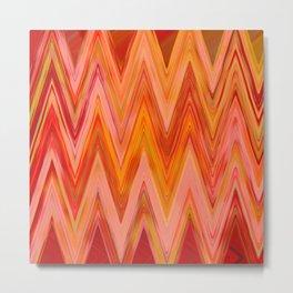 Coral geometric tribal aztec chevron zig zag stripes ikat pattern andes zigzag hipster print Metal Print