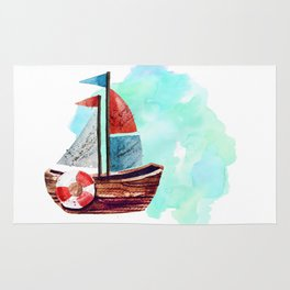 Ship in the Watercolor Rug