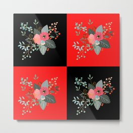 4 Flowers- Black and Red Metal Print